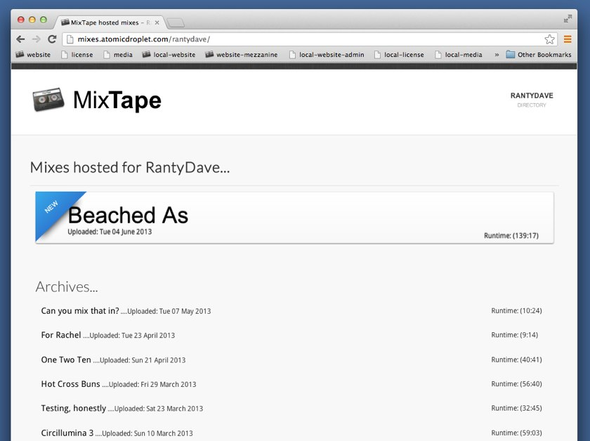 The directory of a user's mixes in MixTape