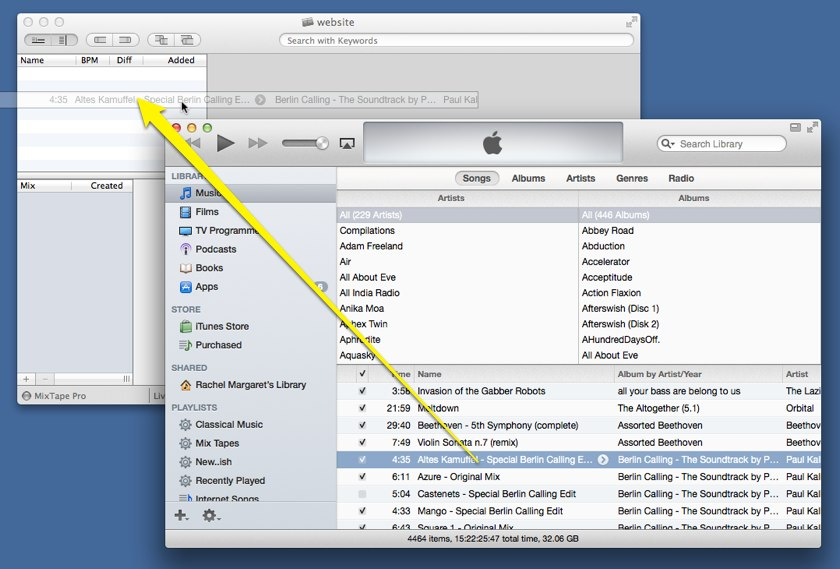 Dragging music from iTunes to MixTape